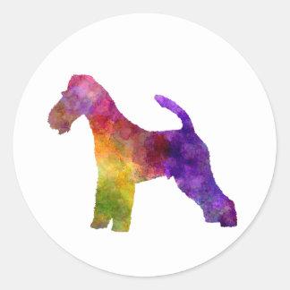 Fox Terrier in watercolor Classic Round Sticker