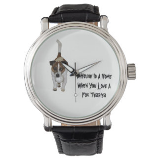 Fox Terrier, Love Is Logo, Mens Leather Watch. Watch
