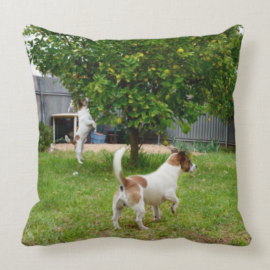 Fox_Terrier_Playtime_Large_Lounge_Throw_Cushion Throw Pillow