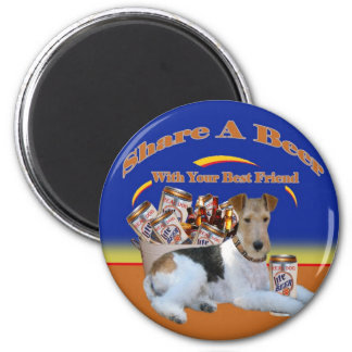 Fox Terrier Share A Beer Magnet