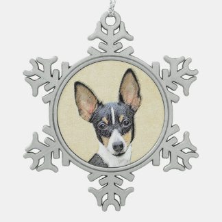 Fox Terrier (Toy) Snowflake Pewter Christmas Ornament
