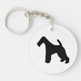 Fox Terrier wire-haired dog black silhouette, gift Double-Sided Round Acrylic Keychain