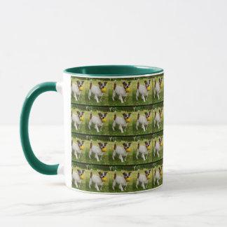Fox Terrier With His Ball, Green, Coffee Mug. Mug