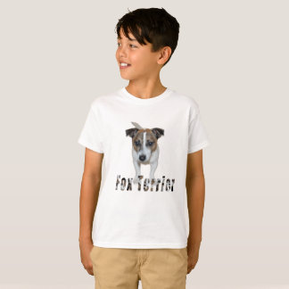 Fox Terrier With Logo, Boys White T-shirt