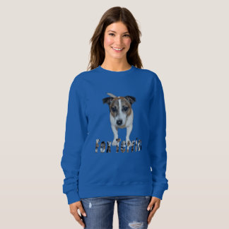 Fox Terrier With Logo, Ladies Blue Sweatshirt