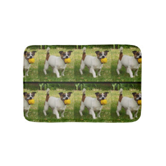 Fox Terrier With Yellow Ball Small Memory Bath Mat