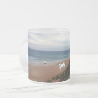 Fox Terriers On The Beach, Frosted Glass Mug