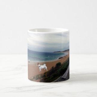 Fox Terriers On The Beach, White Coffee Mug