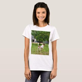 Fox Terriers Playtime, Ladies White T-shirt