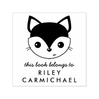 Fox This Book Belongs To Custom Name Self-inking Stamp