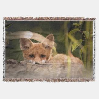 fox throw blanket, foxy decor, fox cub