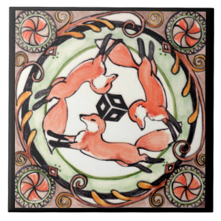 Fox Trio Mystical Circle Design Art Tile Trivet