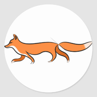 Fox Walking Classic Round Sticker