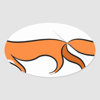 Fox Walking Oval Sticker