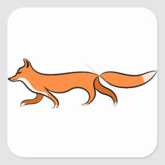 Fox Walking Square Sticker