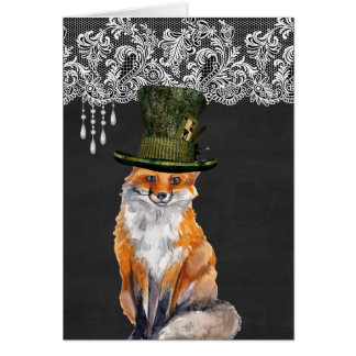 Fox Wearing Hats Greeting Cards