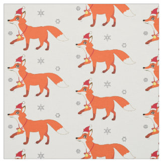 Fox with a Santa Hat in the Snowflakes Fabric
