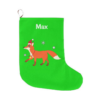 Fox with a Santa Hat Name Customizable Large Christmas Stocking