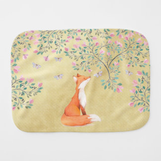 Fox with Butterflies and Pink Flowers Baby Burp Cloths
