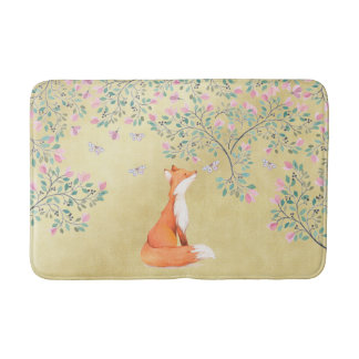 Fox with Butterflies and Pink Flowers Bath Mat