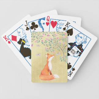 Fox with Butterflies and Pink Flowers Bicycle Playing Cards