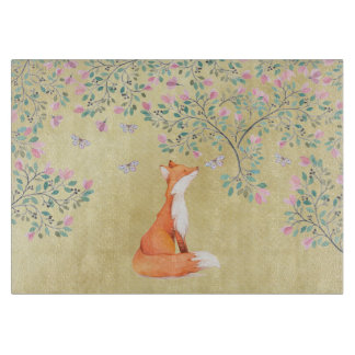 Fox with Butterflies and Pink Flowers Boards