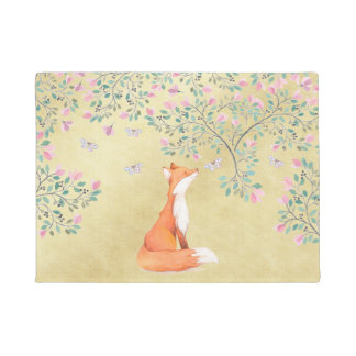 Fox with Butterflies and Pink Flowers Doormat