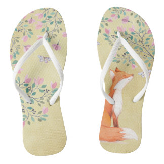 Fox with Butterflies and Pink Flowers Flip Flops