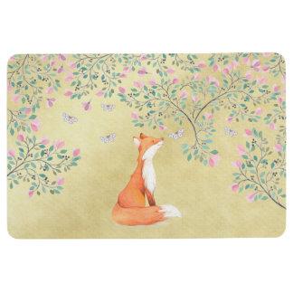 Fox with Butterflies and Pink Flowers Floor Mat