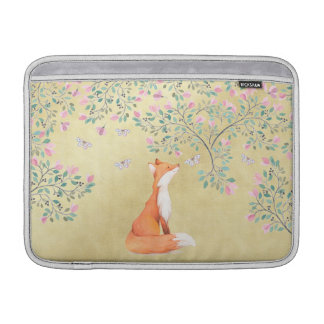 Fox with Butterflies and Pink Flowers MacBook Air Sleeves