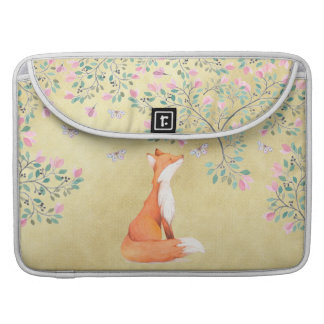 Fox with Butterflies and Pink Flowers MacBook Pro Sleeve