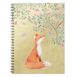 Fox with Butterflies and Pink Flowers Notebooks