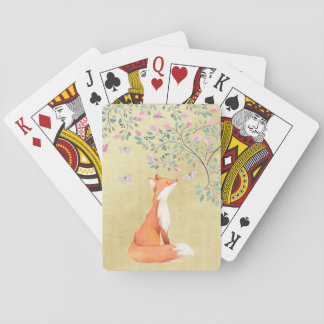 Fox with Butterflies and Pink Flowers Playing Cards