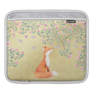 Fox with Butterflies and Pink Flowers Sleeves For iPads