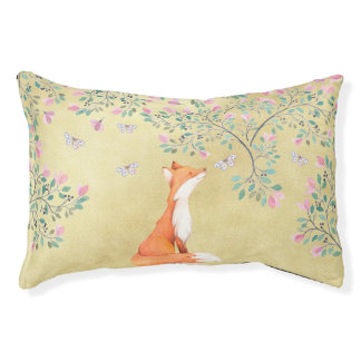 Fox with Butterflies and Pink Flowers Small Dog Bed