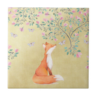 Fox with Butterflies and Pink Flowers Tile