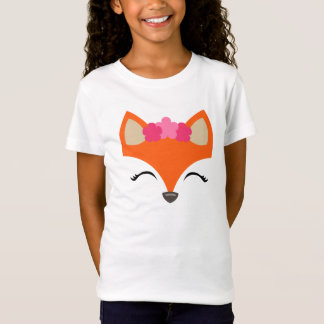 Fox with Flower Crown tee for kids