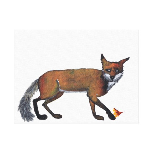 FOX with LEAF Canvas Print