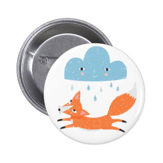 Fox with rain cloud 2 inch round button