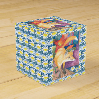 fox with white daisies gift box party favor box