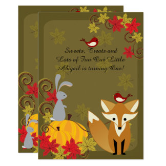Fox ~ Woodland Animals Autumn 1st Birthday Invite