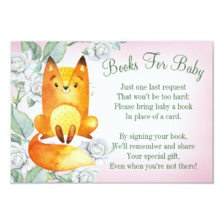 Fox Woodland Baby Shower Book Card Bring A Book