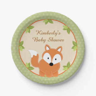 Fox Woodland Baby Shower Paper Party Plates
