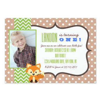 Fox Woodland First Birthday Party Invitation