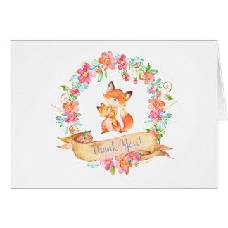 Fox Woodland Mom Baby Floral Wreath Thank You Card