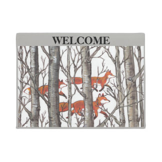 Fox Woods Gray Welcome Doormat Personalize