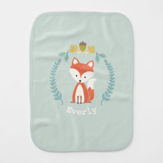 Fox Wreath Baby Burp Cloth - Girl