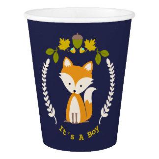 Fox Wreath Boy Baby Shower Paper Cup