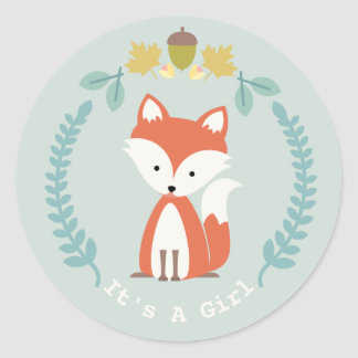 Fox Wreath Girl Baby Shower Classic Round Sticker
