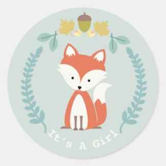 Fox Wreath Girl Baby Shower Round Sticker